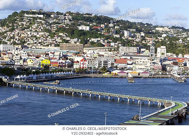 Fort-de-France, Martinique. View of the Town from the Harbor, Late Afternoon