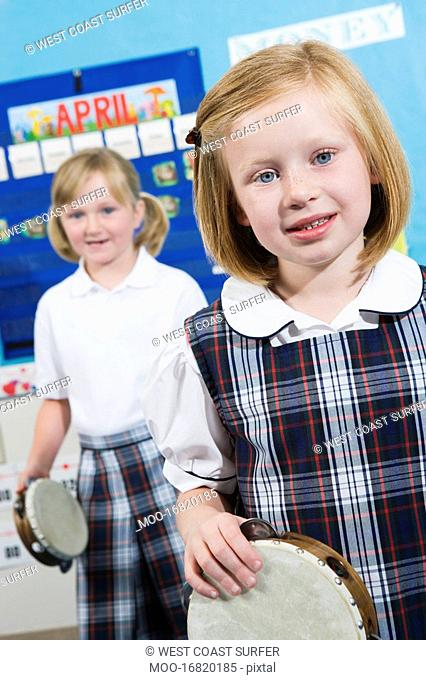 Elementary Students with Tambourines