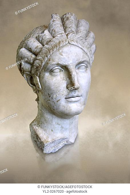 Roman marble portrait bust of Matidia circa119 AD from Via Giolitti, Rome. Matidia was Sabinaâ. . s mother and Hadrianâ. . s wife