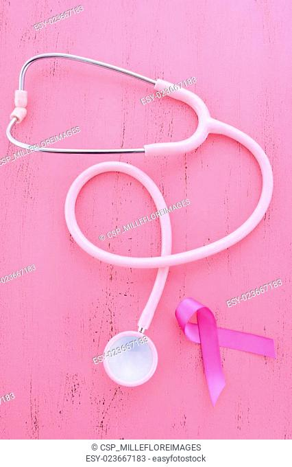 Pink Ribbon awareness with stethoscope