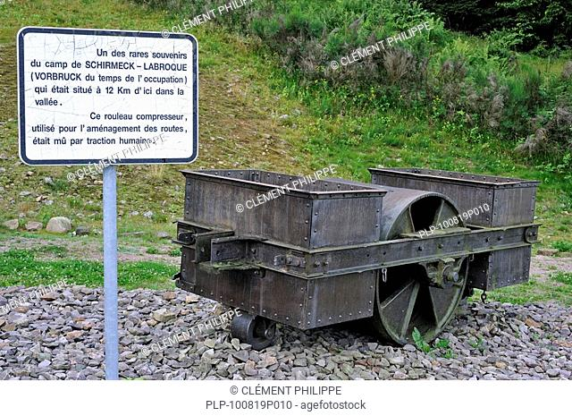 Road roller used by prisoners at Natzweiler-Struthof, the only concentration camp established by the Nazis on French territory, Alsace, France