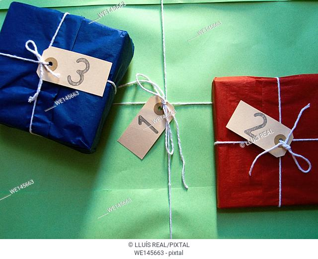 closeup of some gift packages listed 1 to 3