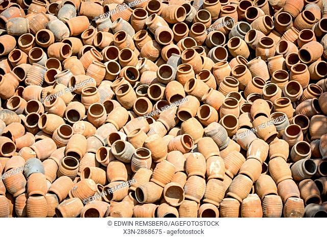 A large pile of clay pots in Jaipur, India