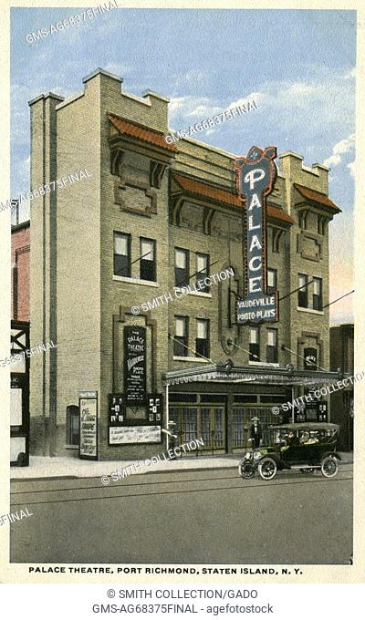 Hand colored postcard of the Palace Theater, the building sign reads 'Vaudeville, Photo Plays', a car is parked in front of the theatre and a man stands on the...