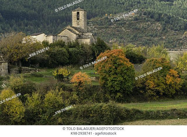 iglesia parroquial, Santa María de la Nuez, municipio de Bárcabo,Sobrarbe, Provincia de Huesca, Comunidad Autónoma de Aragón, cordillera de los Pirineos, Spain