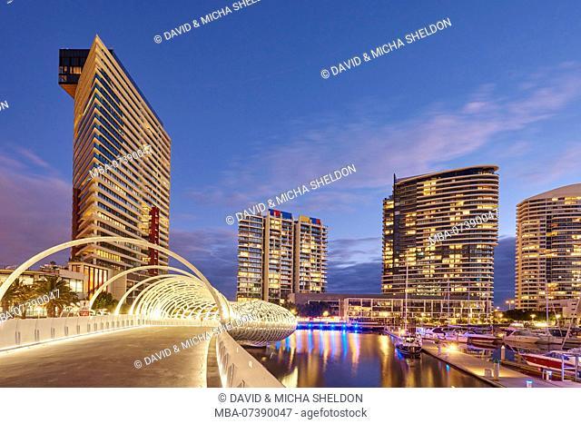 Spider bridge (Webb steel footbridge), Docklands, Docklands, Melbourne, Victoria, Australia, Oceania
