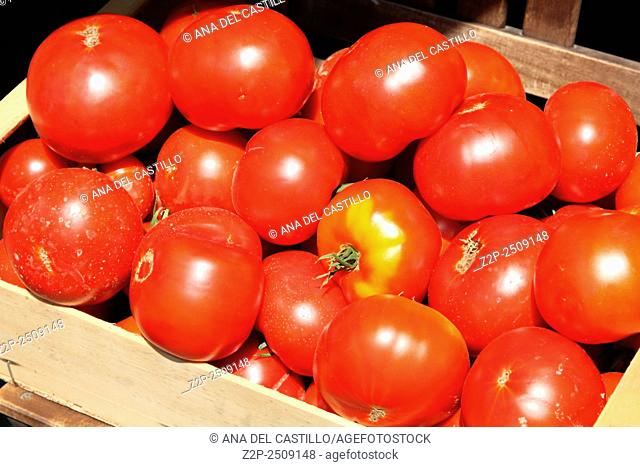 Box with tomatoes street in Monterosso Italy