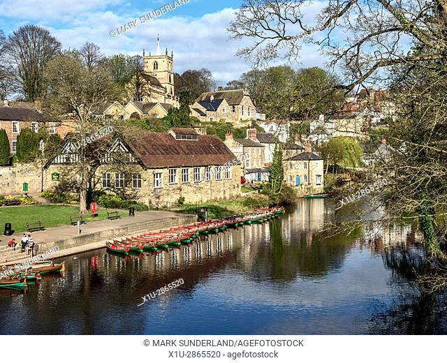 Rowing Boats on the River Nidd at Knaresborough North Yorkshire England