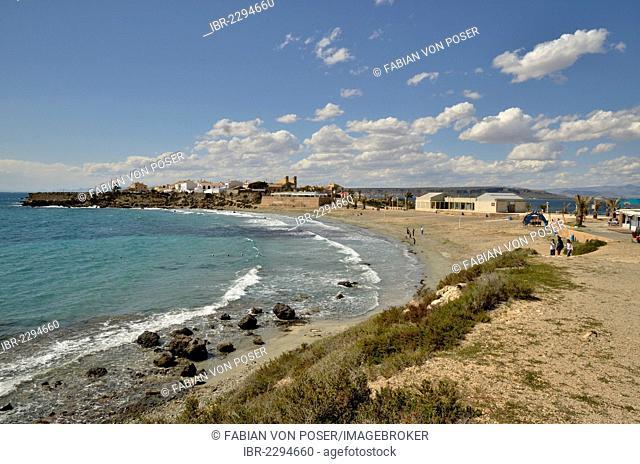 View across the beach Playa Grande to the town of Tabarca, Island of Tabarca, Isla de Tabarca, Costa Blanca, Spain, Europe