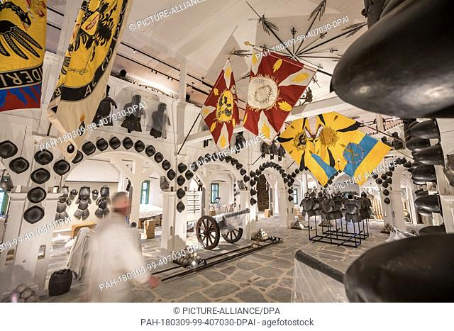 07 March 2018, Germany, Schwarzburg: The weapons collection of the Schwarzburg princes being assembled in the renovated armory of Schwarzburg Castle with its...