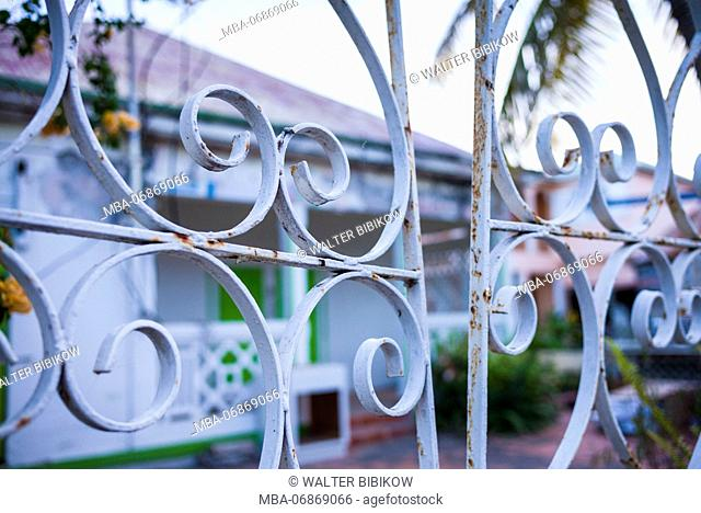 French West Indies, St-Martin, Grand Case, Gourmet Capital of the Caribbean, old house and fence