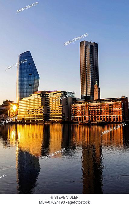 England, London, Bankside Skyline and River Thames