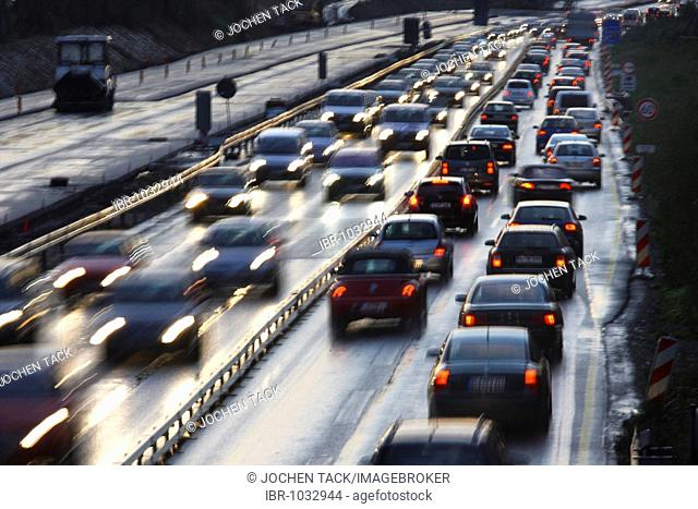Rush hour on the A40 motorway, near Bochum, North Rhine-Westphalia, Germany, Europe