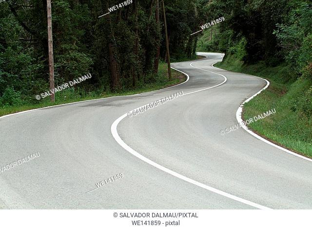 undulating road, Population Porqueres, Girona, Catalonia, Spain, Europe
