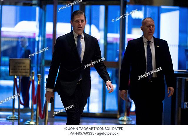 Eric Trump, son of President-elect Donald Trump arrives at Trump Tower in Manhattan, New York, U.S., on Friday, November 18, 2016