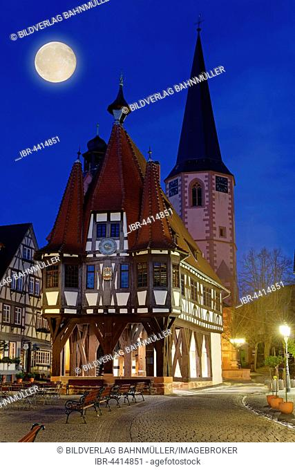 Michelstadt City Hall, church tower and full moon at night, Michelstadt, Odenwald, Hesse, Germany