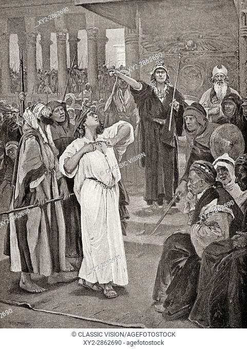 Athaliah hears the proclamation of Joash, 836 B. C. After the massacre at Jehu, Israel and the house of David, Athaliah murdered the whole royal family of Judah
