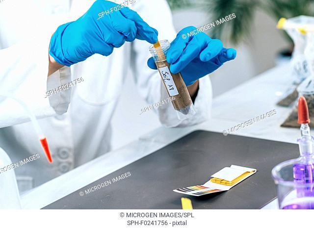 Measuring soil sample pH