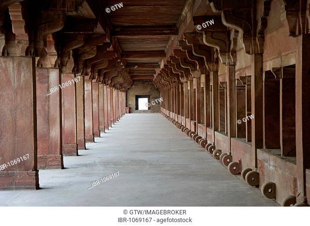 Lower Haramsara, accomodation of the servicing maids of the harem, UNESCO World Heritage Site, Fatehpur Sikri, Uttar Pradesh, India, South Asia