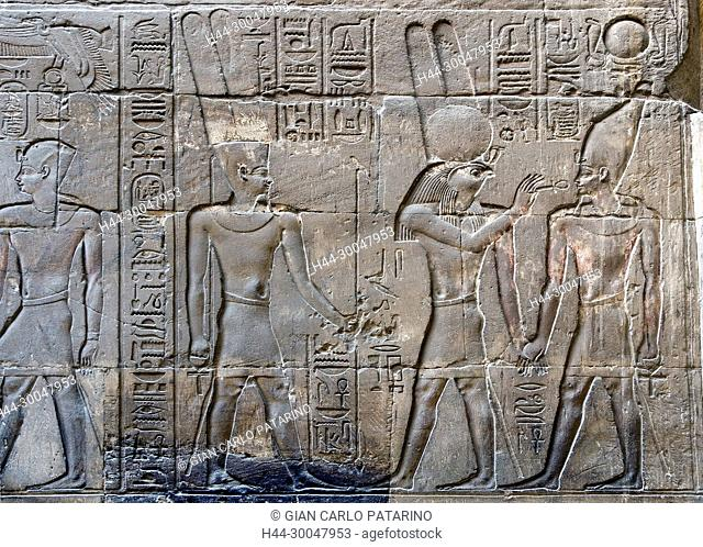 Luxor, Egypt. Temple of Luxor (Ipet resyt): the pharaoh Alexander the Great (356 - 323 b.C.) blessed by the god Horus