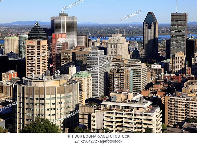 Canada, Quebec, Montreal, skyline, aerial view,