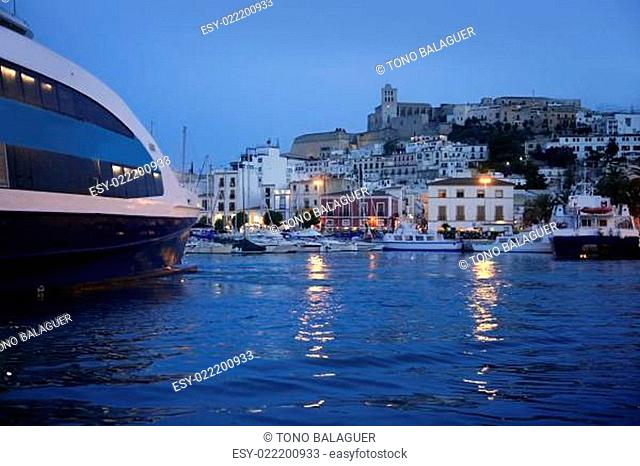 Ibiza island harbor and city under night light