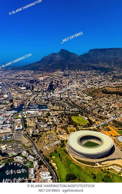Aerial View, Cape Town Stadium and Central Business District with Table Mountain behind, Cape Town, South Africa