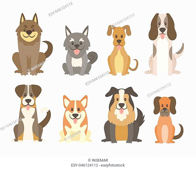 Collection of different kinds of dogs isolated on white background. Cute dogs in cartoon style sitting in front view position. Vector illustration