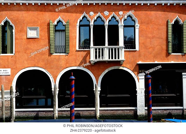 Venice, Italy. Typical Venetian architecture by a canal