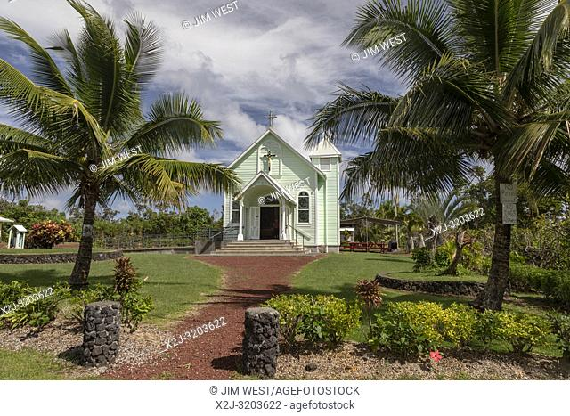 Kalapana, Hawaii - Star of the Sea Painted Church. Built in 1927-28, the church was moved in 1990 to escape a lava flow from the Kilauea volcano