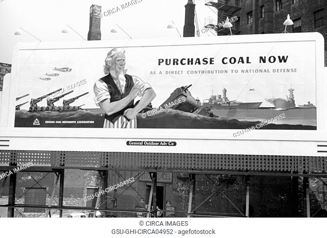 Billboard, Purchase Coal Now, Chicago, Illinois, John Vachon, Farm Security Administration, July 1941