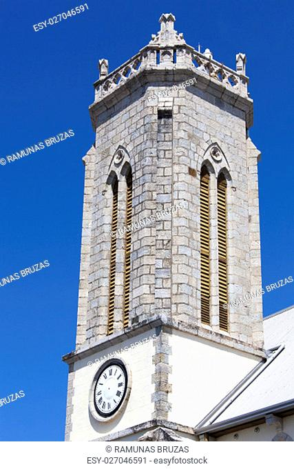 The tower of St Joseph's Cathedral in Noumea city (New Caledonia)