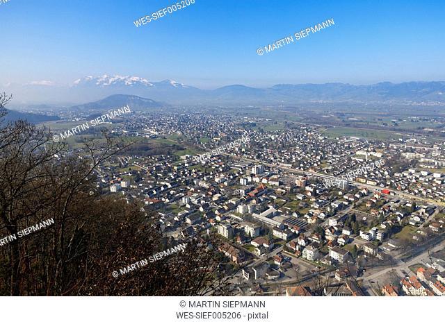 Austria, Vorarlberg, Rhine Valley, Viktorsberg, View to Hohenems