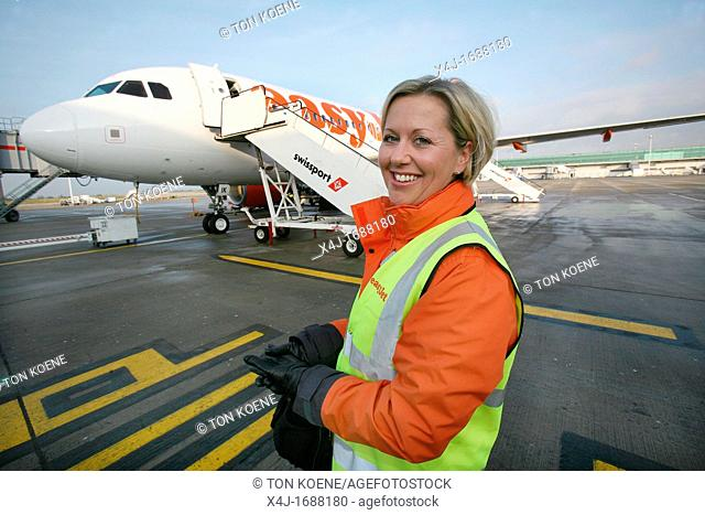 Stewardess working for Easyjet editorial use only, no negative publicity