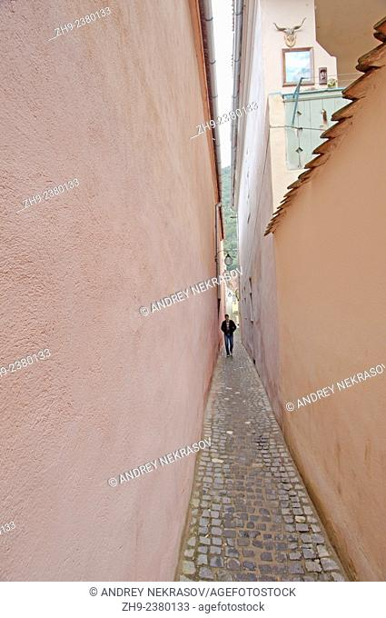 The narrowest street in town Brasov, Romania, Europe