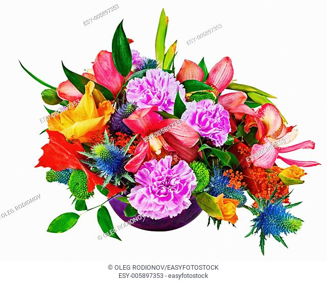 Floral bouquet of orchids, gladioluses and carnations arrangement centerpiece in blue glass vase isolated on white background