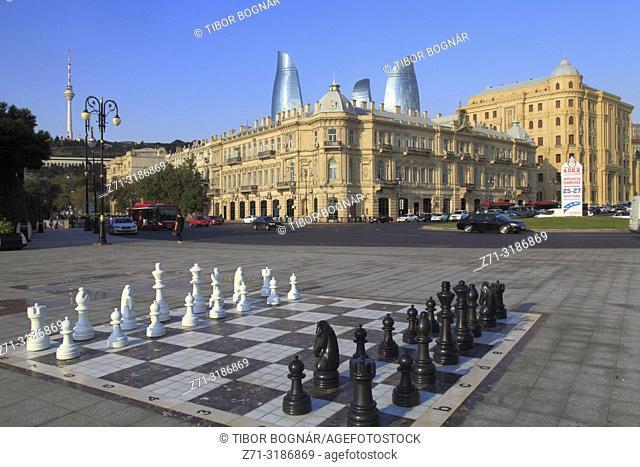Azerbaijan; Baku, street chess board,