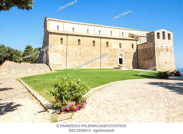 Abbey of San Giovanni in Venere on top to hill. Altino, Abruzzo. Italy