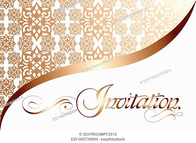 Calligraphy invitation with vector seamless pattern
