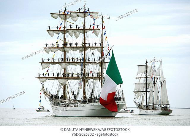 Armada 2013 - cruise of biggest sailing vessels in the world on Seine river from Rouen to Atlantic Ocean, here in front 'Cuauhtémoc' - Mexican sailing vessel...
