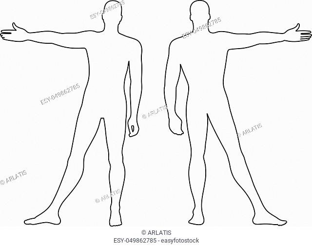Fashion man's outlined template figure silhouette (front & back view), vector illustration isolated on white background