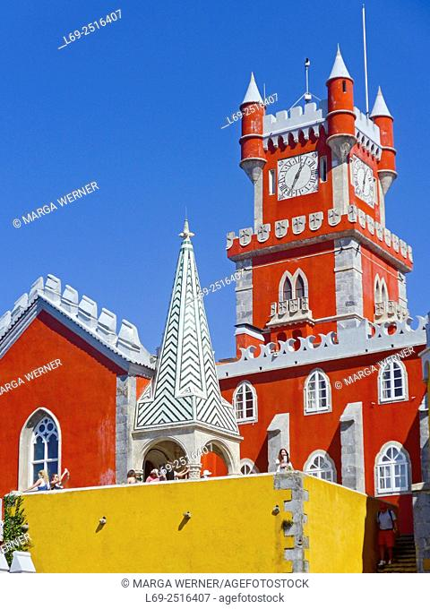 Palácio Nacional da Pena, 1840, The Pena National Palace, Sintra, Clock tower and chapel, Portugal, Europe