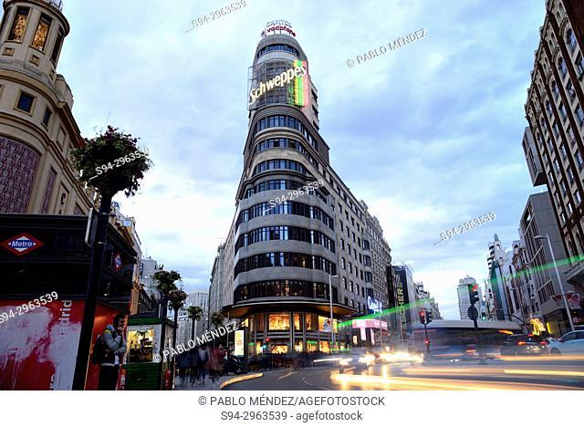 Building in Gran Via street, Madrid, Spain