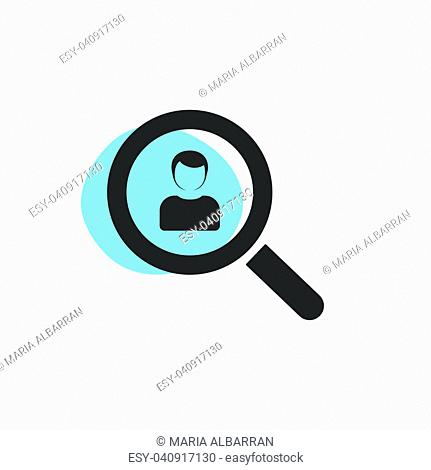 Magnifying glass looking for a man isolated web icon. Vector illustration