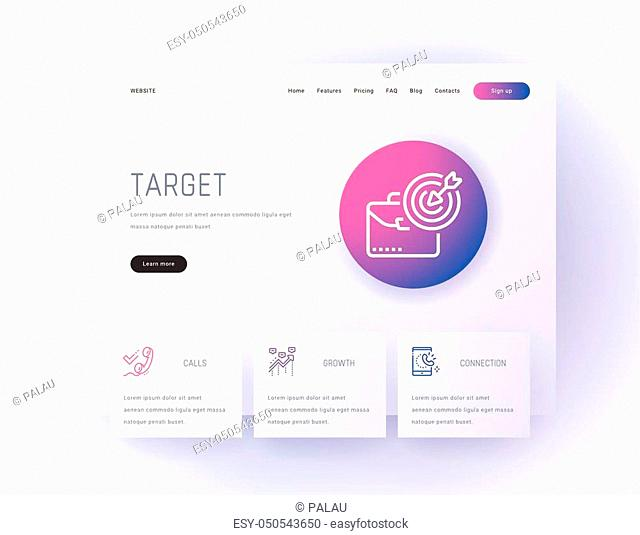 Target, Calls, Statistics, Growth, Connection Landing page template. Template for website design
