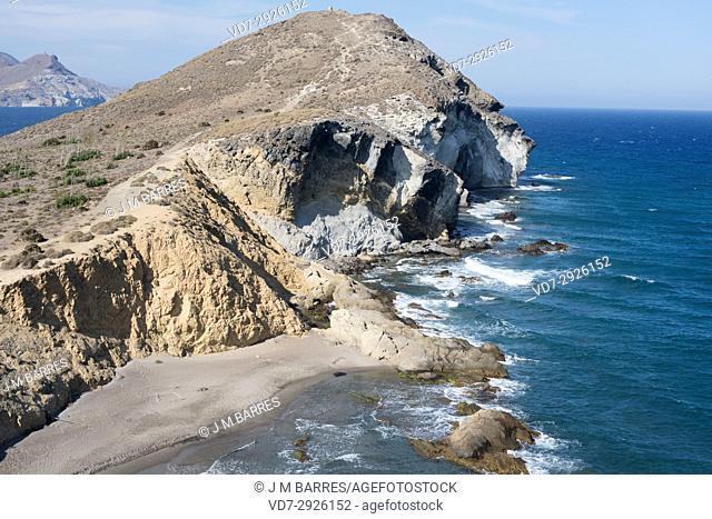 Morron de Los Genoveses and Cala del Barronal. Cabo de Gata-Nijar Natural Park, Almeria province, Andalucia, Spain