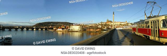 A panoramic image of the Vltava River Prague
