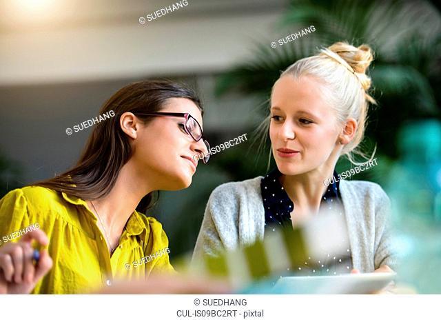 Two female designers meeting at design studio desk