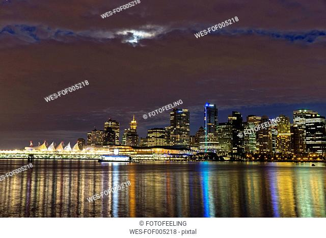 Canada, Skyline of Vancouver at night