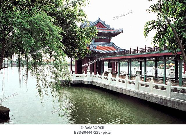 The landing Bridge in New Yuanming garden, Zhuhai City, Guangdong Province of People's Republic of China